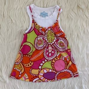 Hippie 60s Flower Pattern Tank, Girls 5/6